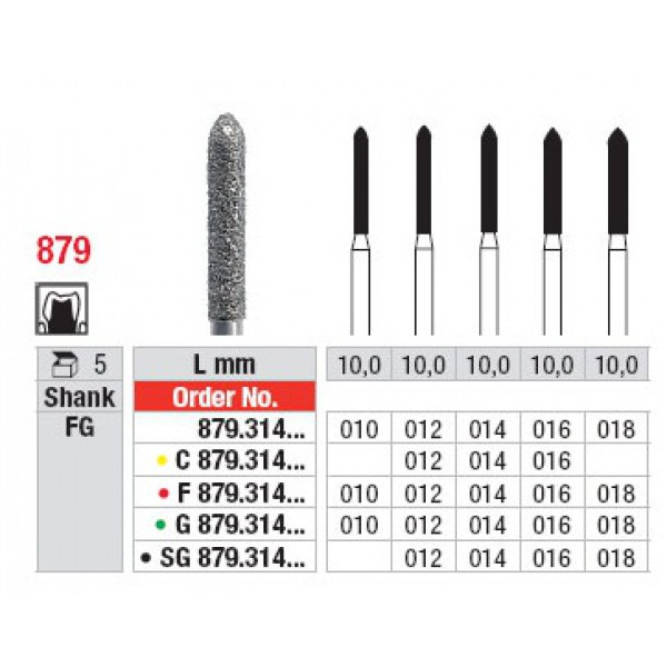 Алмазные боры для турбин и угловых наконечников, G879, Edenta