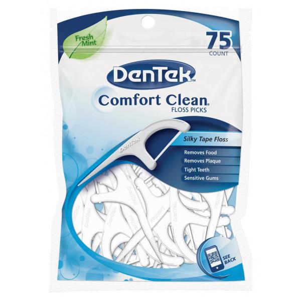 Comfort Clean Floss Picks, флосс-зубочистки, 75 шт, DenTek