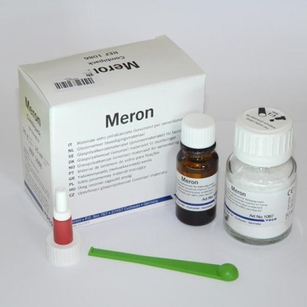 Meron, стеклоиономерный цемент для фиксации порошок 35 г + жидкость 15 мл, VOCO