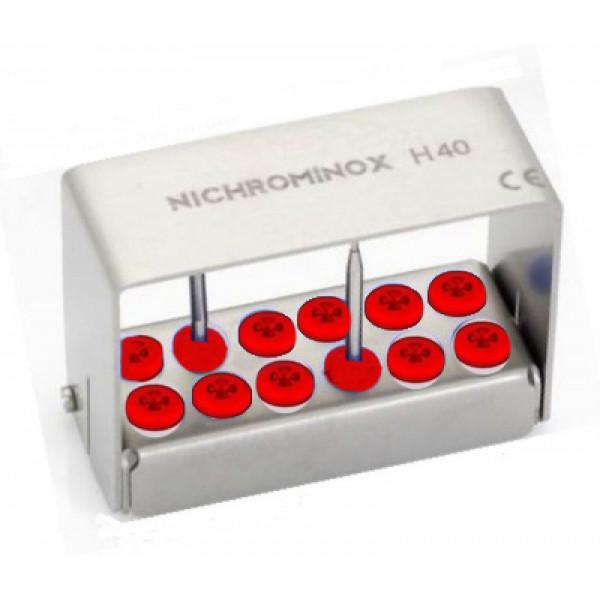 "Касета автоклавируемая (12 отверстий) ""Plug'In 12 holes for burs 40mm - red"", NICHROMINOX"