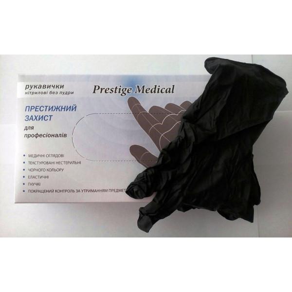Перчатки нитриловые черные текстурированные без пудры Prestige Medical