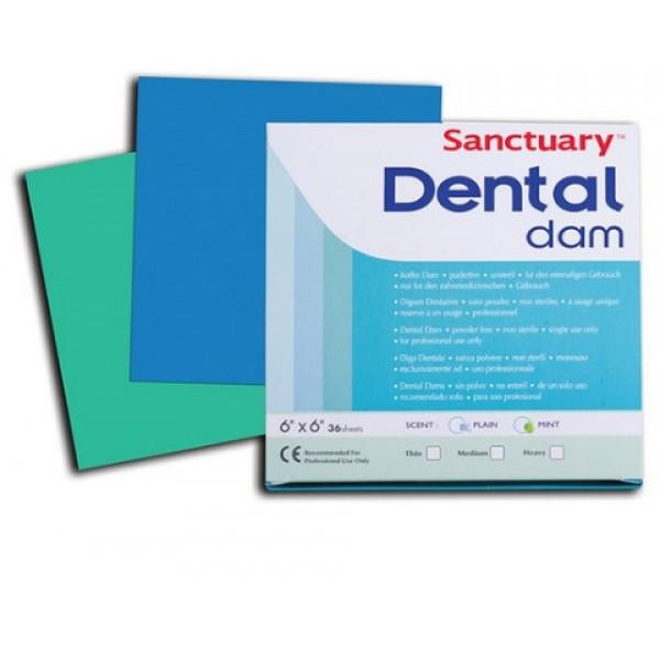 Коффердамовые платки SANCTUARY Dental Dam (Малайзия), 36 шт 152x152mm, Medium
