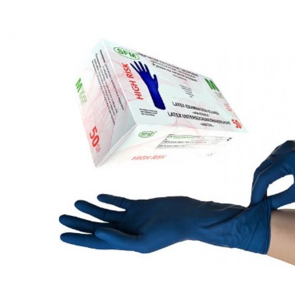 Перчатки нитриловые SFM текстурированные без пудры