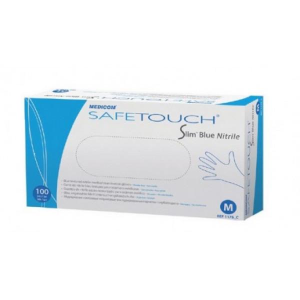 Перчатки  нитриловые без пудры нестерильные Slim Blue SafeTouch,  Medicom
